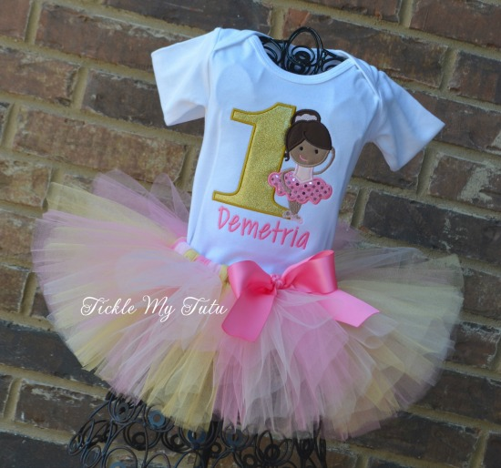 Ballerina Birthday Tutu Outfit (Pink and Gold)