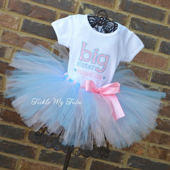 Big Sister To Be Pregnancy Announcement Tutu Outfit (Light Pink and Baby Blue)