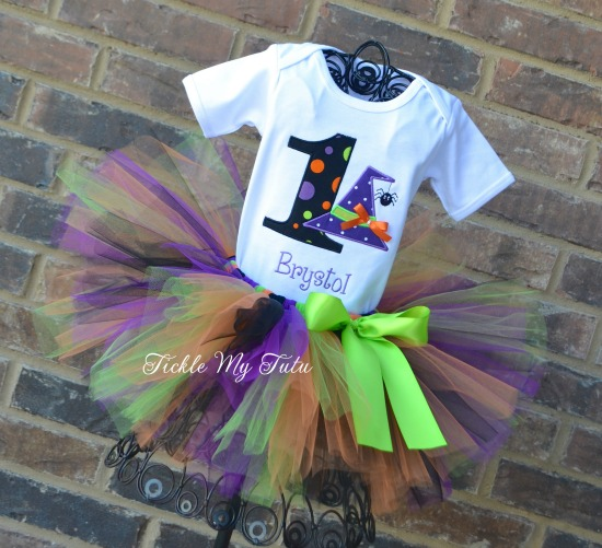 Wacky Witch Hat with Spider Birthday Tutu Outfit