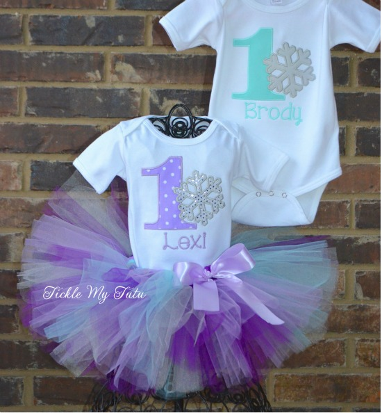 Boy/Girl Twin Winter ONEderland Birthday Set (Lilac and Aqua)