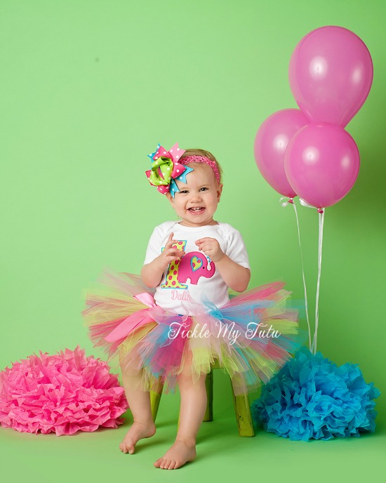Colorful Elephant Birthday Tutu Outfit