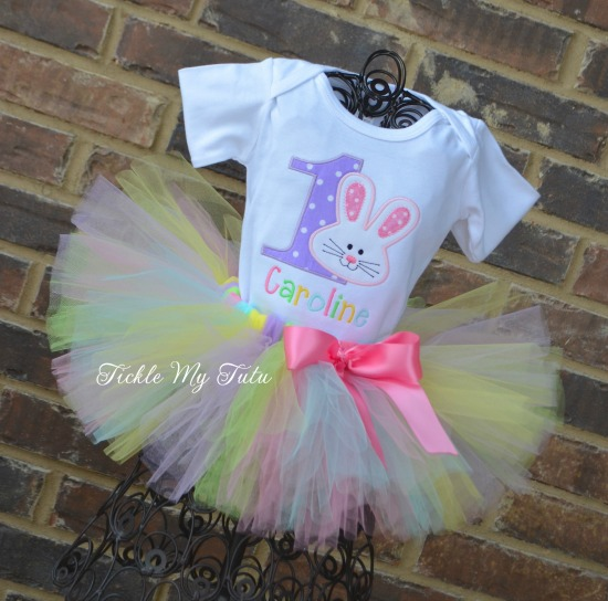 Some BUNNY Is ONE Birthday Tutu Outfit (pastel colors)