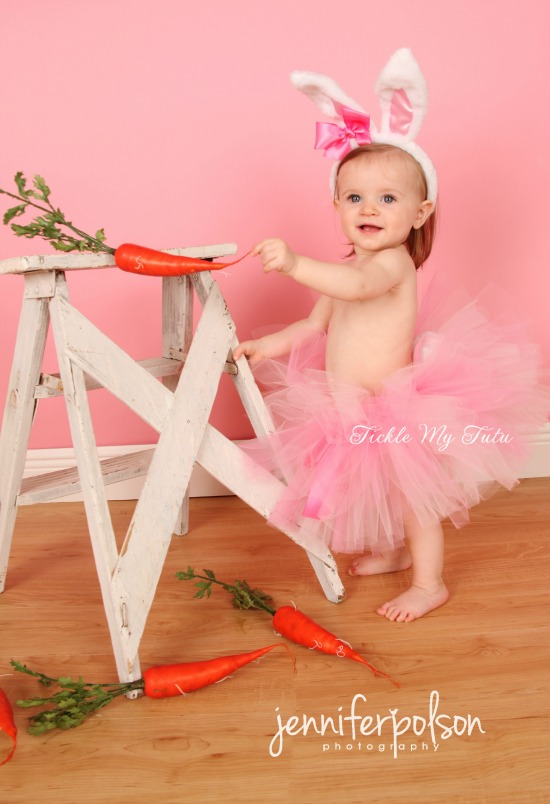 Little Bunny Tutu Costume (Pink and Light Pink Tutu with White Ears)