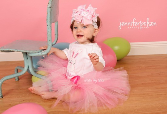 "Bunny Face Initial ""Brighton"" Easter Tutu Outfit"