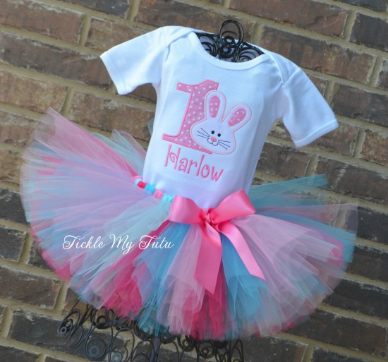 Some BUNNY Is ONE Birthday Tutu Outfit (dark pink, turquoise, pink, and aqua)