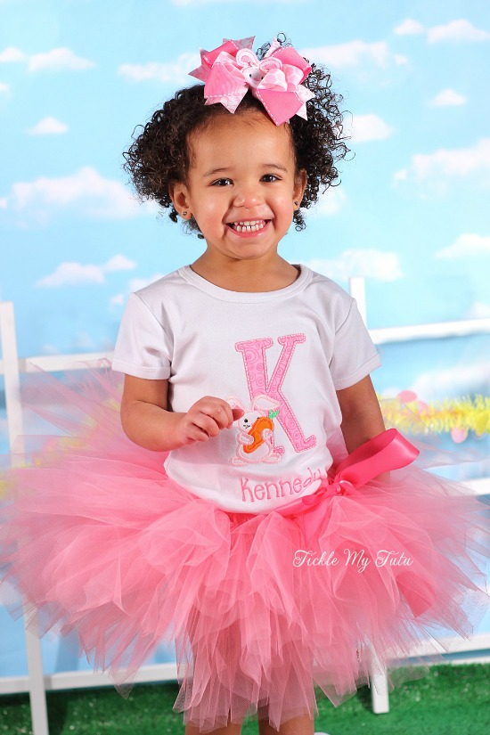 "Bunny Initial ""Kennedy"" Easter Tutu Outfit"