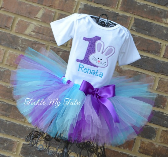 Some BUNNY Is ONE Birthday Tutu Outfit (Purple, Lilac, Turquoise, and Aqua)