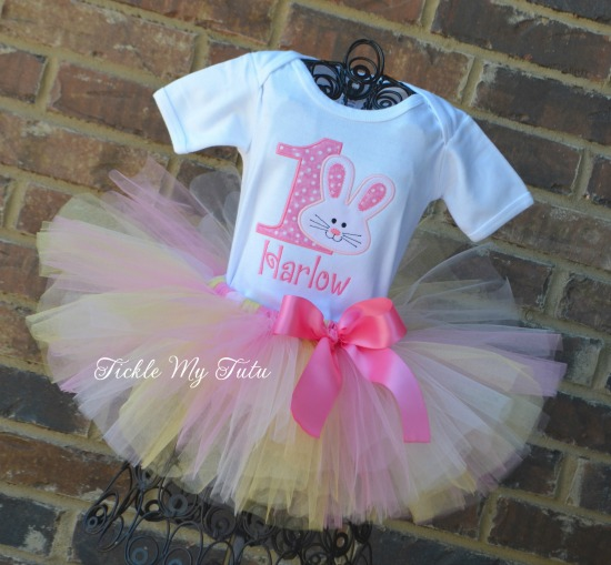 Some BUNNY Is ONE Birthday Tutu Outfit (pink and gold style 2)