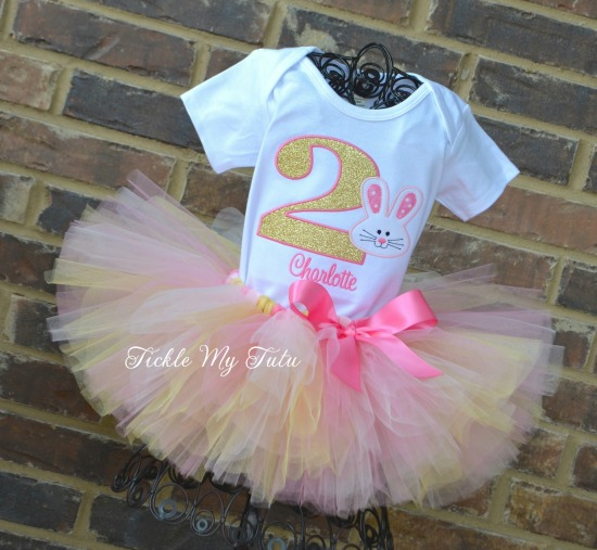 Some BUNNY Is ONE Birthday Tutu Outfit (pink and gold)