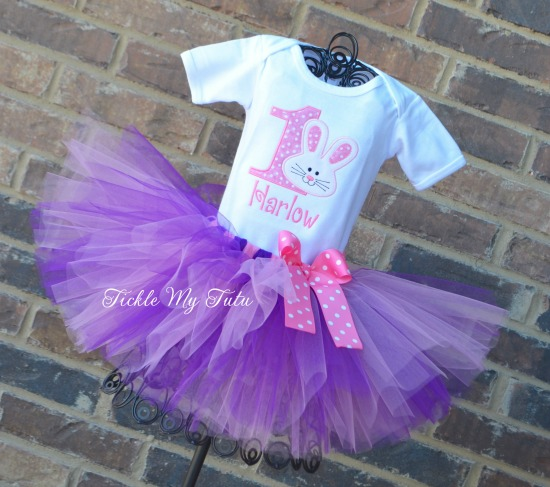 Some BUNNY Is ONE Birthday Tutu Outfit (pink and purple)