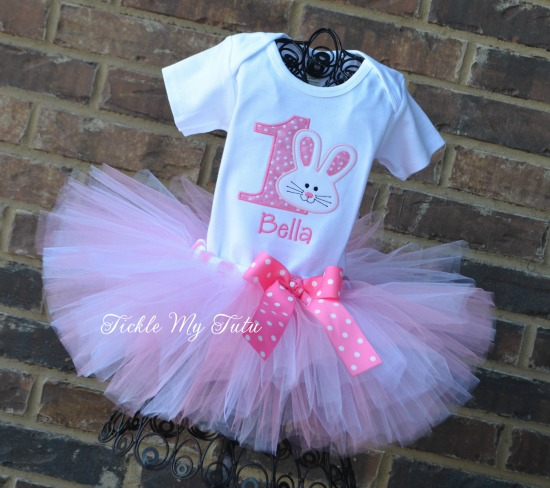 Some BUNNY Is ONE Birthday Tutu Outfit (pink and white)