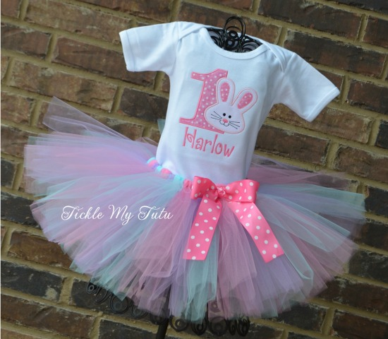 Some BUNNY Is ONE Birthday Tutu Outfit (pink, lilac, and aqua)