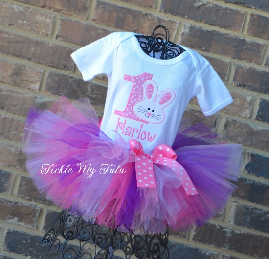 Some BUNNY Is ONE Birthday Tutu Outfit (dark pink, purple, pink, and lilac)