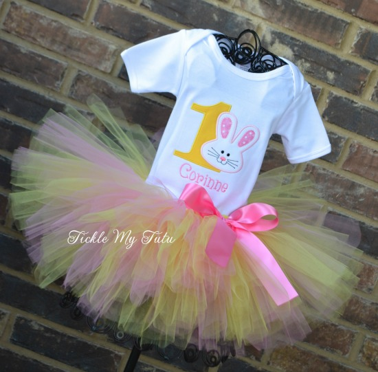 Some BUNNY Is ONE Birthday Tutu Outfit (pink and yellow)