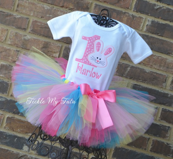 Some BUNNY Is ONE Birthday Tutu Outfit (dark pink, pink, turquoise, yellow, and lilac)