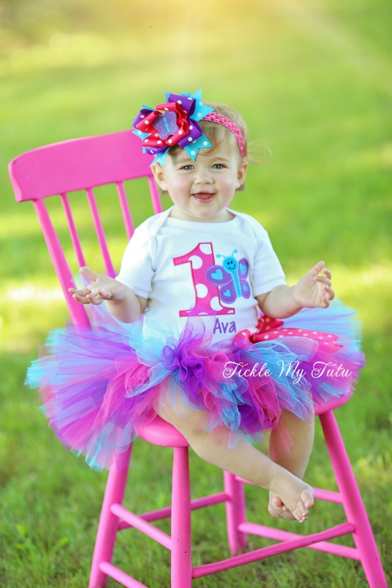 """Butterfly Themed """"Ava"""" Birthday Tutu Outfit"""