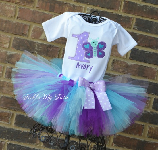 "Butterfly Themed ""Avery"" Birthday Tutu Outfit"
