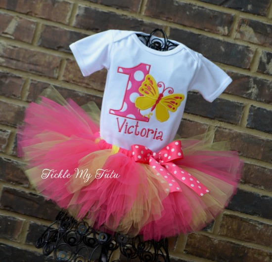 "Butterfly Themed ""Victoria"" Birthday Tutu Outfit"