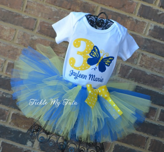 Butterfly Themed Birthday Tutu Outfit (blue and yellow)