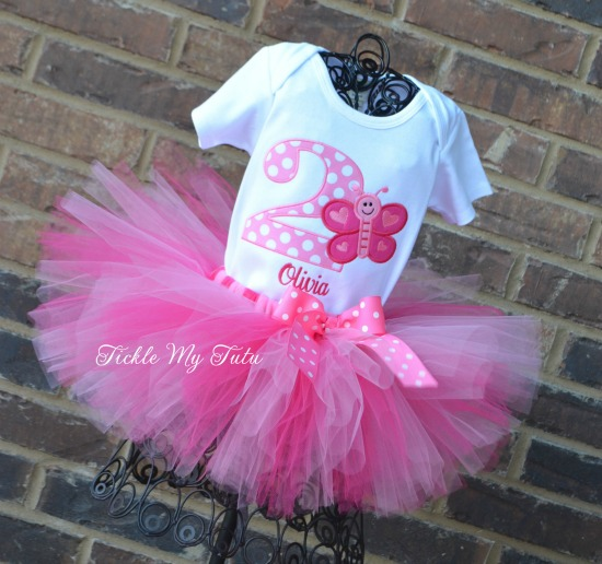 Butterfly Themed Birthday Tutu Outfit in Dark Pink and Pink