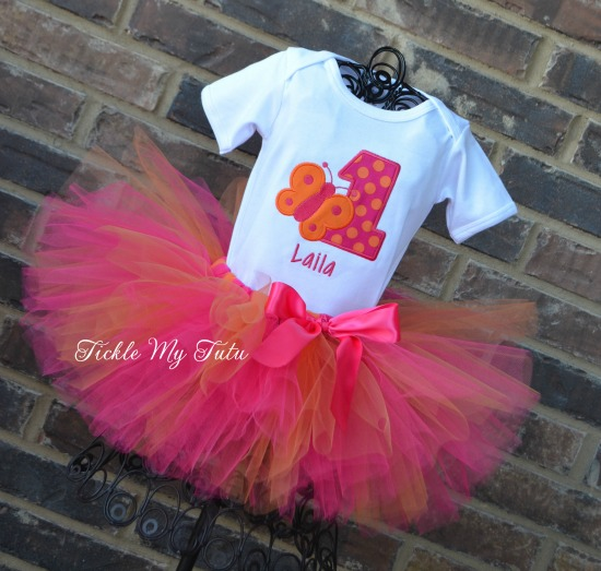 Butterfly Themed (Dark Pink and Orange) Birthday Tutu Outfit