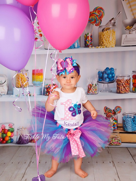 "Butterfly Themed ""Kendall"" Birthday Tutu Outfit"