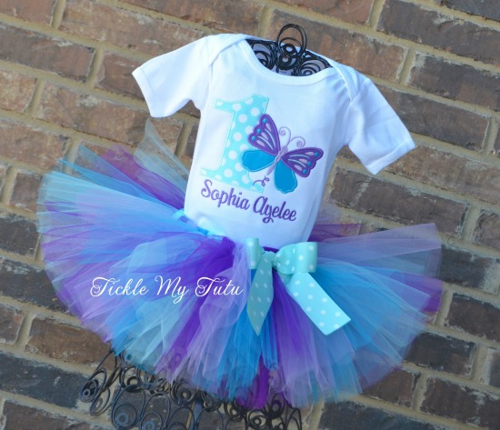Butterfly Themed Birthday Tutu Outfit (purple, lilac, turquoise, and aqua)