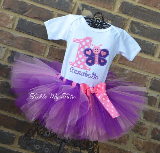 "Butterfly Themed ""Annabelle"" Birthday Tutu Outfit"