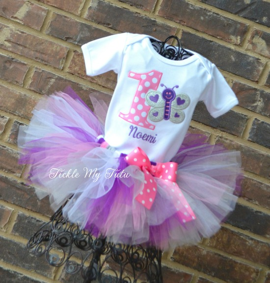 """Butterfly Themed """"Purple, Pink, Silver, and White"""" Birthday Tutu Outfit"""