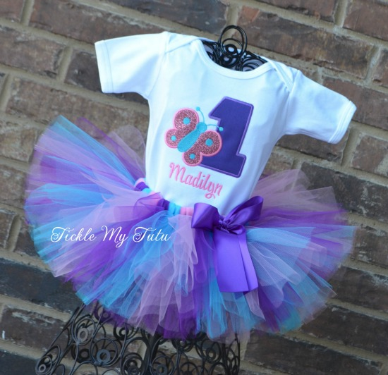 """Butterfly Themed """"Madilyn"""" Birthday Tutu Outfit"""