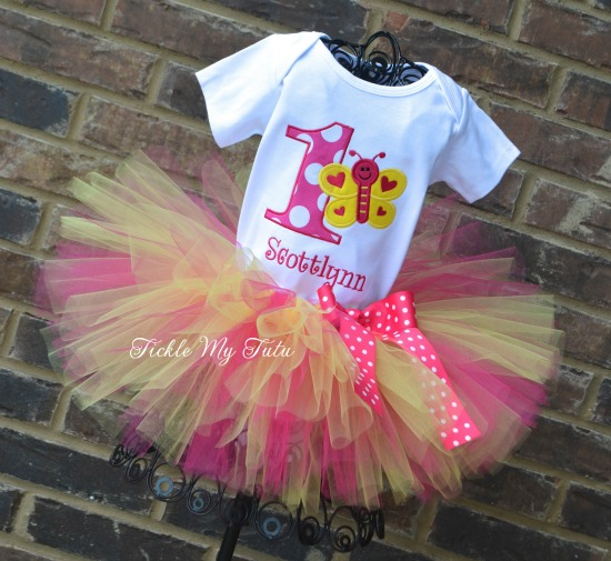 "Butterfly Themed ""Hot Pink and Yellow"" Birthday Tutu Outfit"