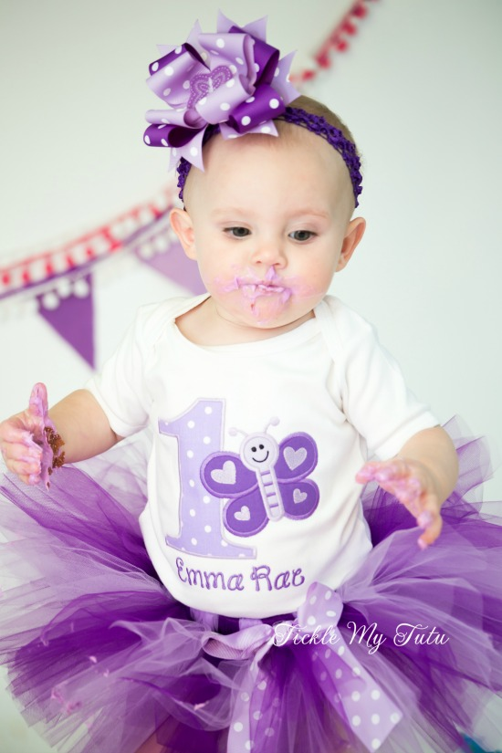 Purple and Lilac Butterfly Birthday Tutu Outfit