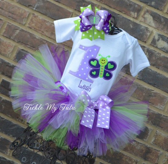 Butterfly Themed (Purple, Lilac, and Lime) Birthday Tutu Outfit
