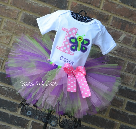 "Butterfly Themed ""Purple, Pink, and Lime"" Birthday Tutu Outfit"