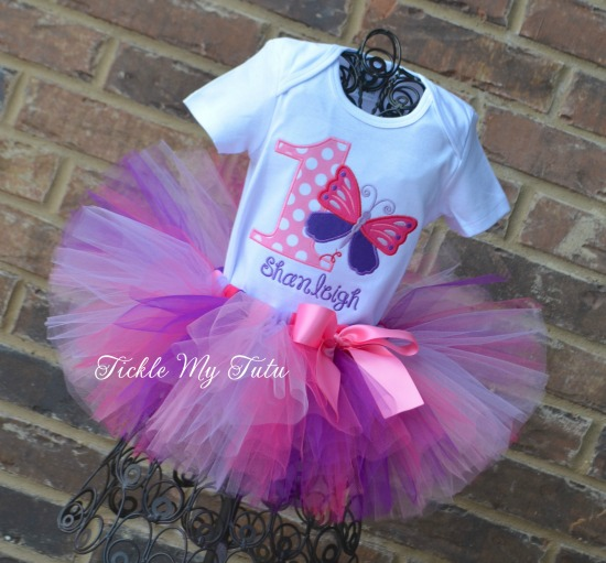 Butterfly Themed (Shanleigh) Birthday Tutu Outfit
