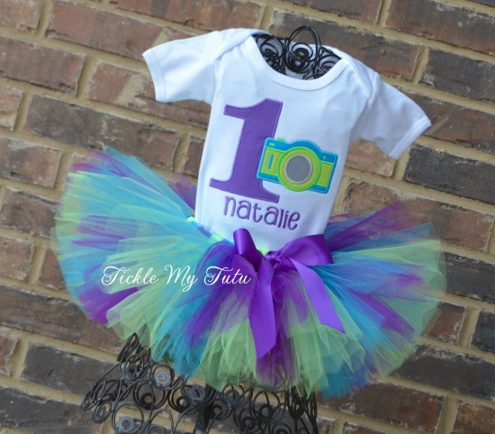 Camera Themed Birthday Tutu Outfit (purple, lime, turquoise)