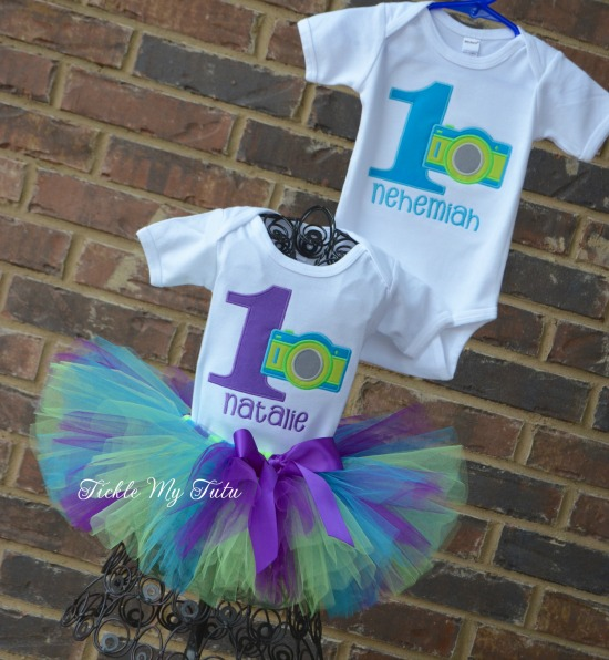 Boy/Girl Twin Camera Birthday Tutu Set