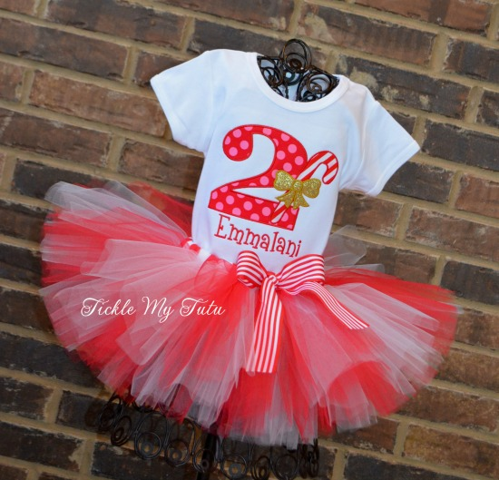 Candy Cane Birthday Tutu Outfit (pink and red number)