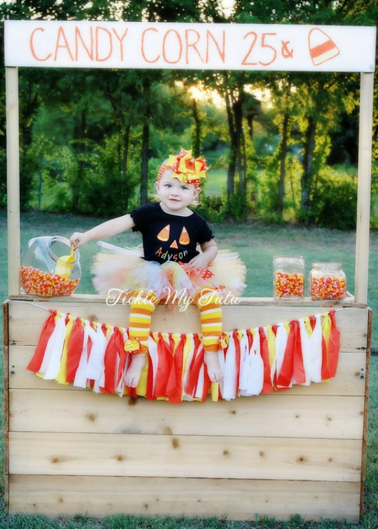 Candy Corn Cutie Face Fall/Halloween Themed Tutu Outfit