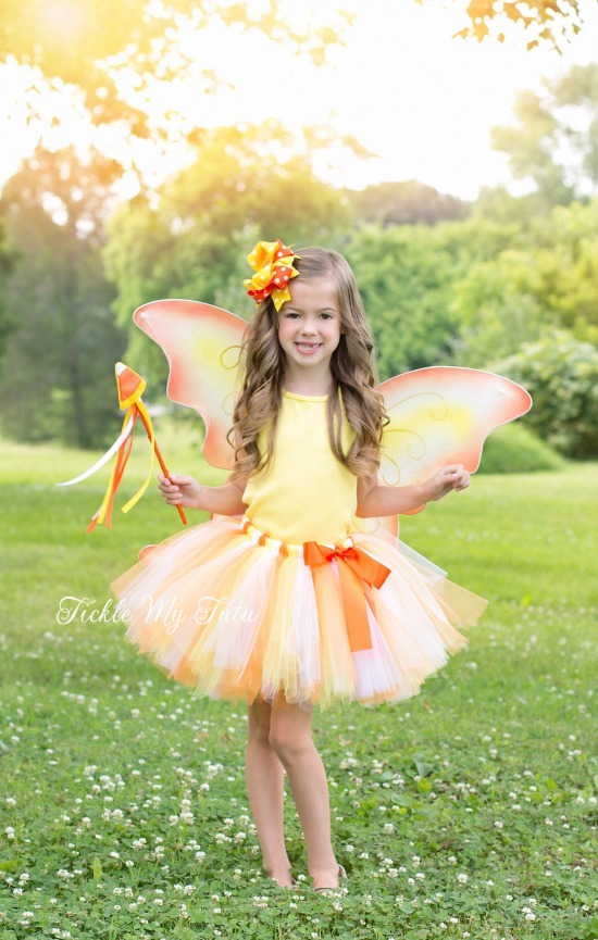 Candy Corn Pixie Fairy THREE PIECE Tutu Halloween Costume