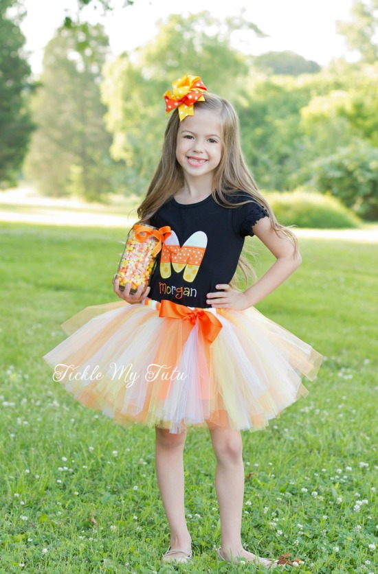 Candy Corn Initial Fall/Halloween Themed Tutu Outfit