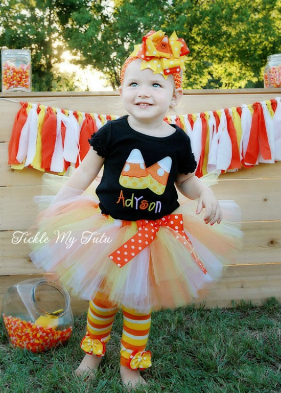 Candy Corn Cutie Pair Fall/Halloween Themed Tutu Outfit