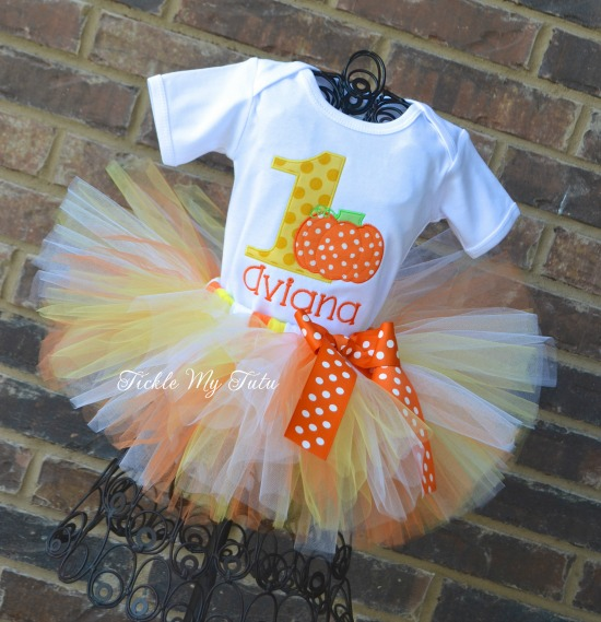 Little Candy Corn Pumpkin Birthday Tutu Outfit