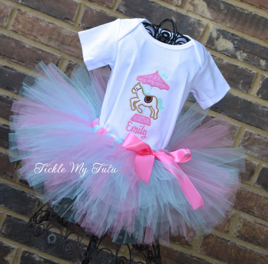 Carousel Pony Pink and Aqua Birthday Tutu Outfit