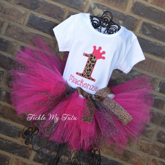 Hot Pink and Cheetah Birthday Crown Tutu Outfit
