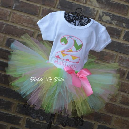 Girly Chevron Birthday Number Tutu Outfit