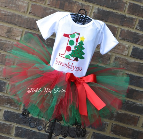 Christmas Tree Birthday Tutu Outfit