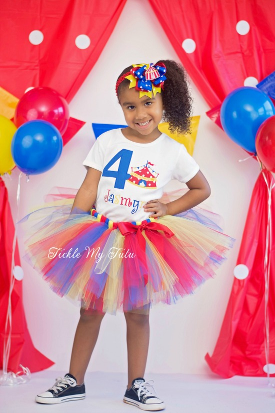 Circus Tent with Birthday Number Tutu Outfit (Red, Blue, and Yellow)