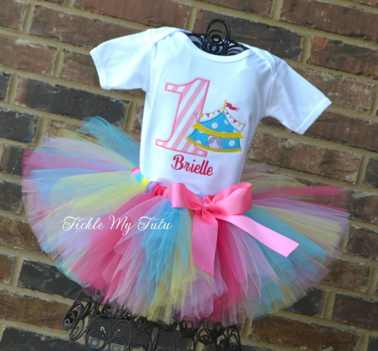 Under the Big Top Circus Tent Birthday Tutu Outfit (Pink Striped Number)