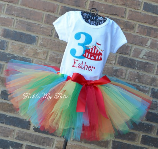 Under the Big Top Red Striped Circus Tent Birthday Tutu Outfit